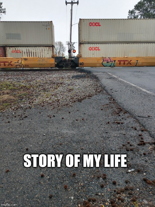 Railway Crossing | STORY OF MY LIFE | image tagged in memes,annoying,why me,blocked,train wreck | made w/ Imgflip meme maker
