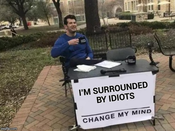 Please prove me wrong | I'M SURROUNDED BY IDIOTS | image tagged in memes,change my mind,i see dead people,dumb and dumber,that damn smile | made w/ Imgflip meme maker