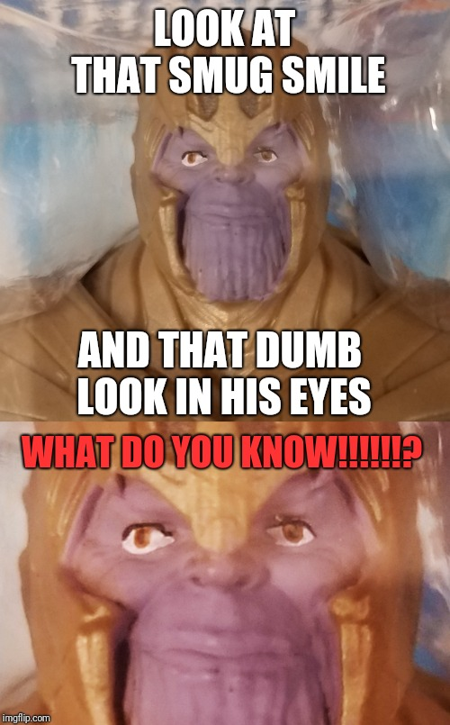 Thanos knows something about Endgame. | LOOK AT THAT SMUG SMILE AND THAT DUMB LOOK IN HIS EYES WHAT DO YOU KNOW!!!!!!? | image tagged in slightly happy thanos,memes,avengers endgame,thanos,smug,funny | made w/ Imgflip meme maker