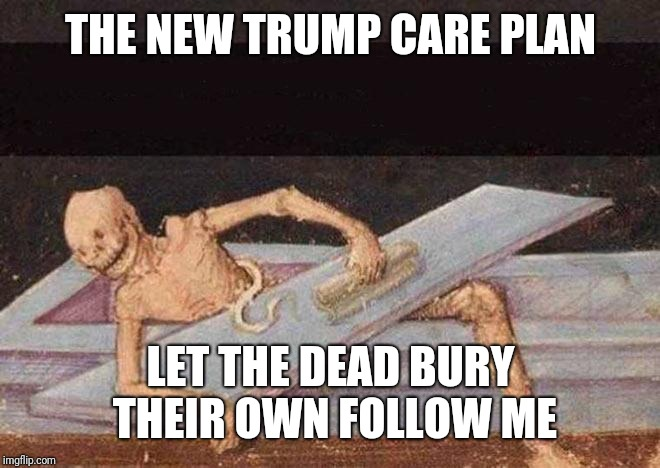 Skeleton Coming Out Of Coffin | THE NEW TRUMP CARE PLAN LET THE DEAD BURY THEIR OWN FOLLOW ME | image tagged in skeleton coming out of coffin | made w/ Imgflip meme maker