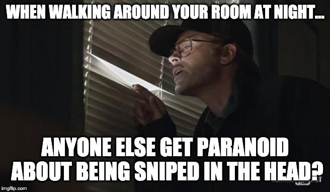 That feeling... |  WHEN WALKING AROUND YOUR ROOM AT NIGHT... ANYONE ELSE GET PARANOID ABOUT BEING SNIPED IN THE HEAD? | image tagged in paranoid rob lowe,sniper,fear | made w/ Imgflip meme maker