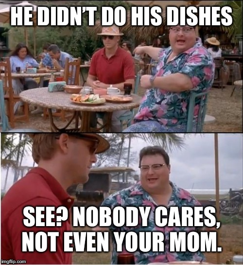 HE DIDN'T DO HIS DISHES SEE? NOBODY CARES, NOT EVEN YOUR MOM. | made w/ Imgflip meme maker