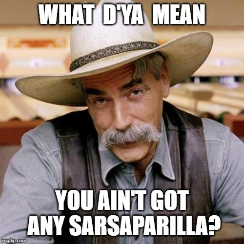 Cowboy Up! | WHAT  D'YA  MEAN YOU AIN'T GOT ANY SARSAPARILLA? | image tagged in sarcasm cowboy,sarsaparilla,memes | made w/ Imgflip meme maker
