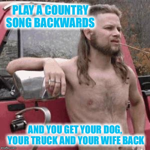 almost redneck | PLAY A COUNTRY SONG BACKWARDS AND YOU GET YOUR DOG, YOUR TRUCK AND YOUR WIFE BACK | image tagged in almost redneck | made w/ Imgflip meme maker
