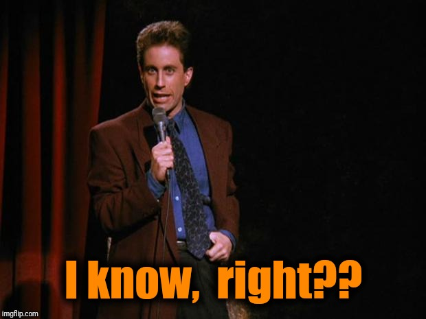 Seinfeld | I know,  right?? | image tagged in seinfeld | made w/ Imgflip meme maker
