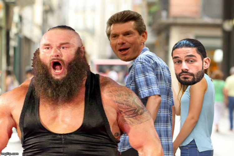 Distracted Vince | image tagged in distracted boyfriend,wwe,memes,roman reigns,braun strowman,vince mcmahon | made w/ Imgflip meme maker