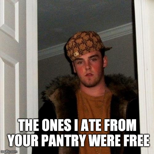 Scumbag Steve Meme | THE ONES I ATE FROM YOUR PANTRY WERE FREE | image tagged in memes,scumbag steve | made w/ Imgflip meme maker