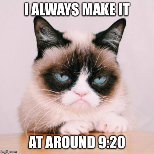 grumpy cat again | I ALWAYS MAKE IT AT AROUND 9:20 | image tagged in grumpy cat again | made w/ Imgflip meme maker