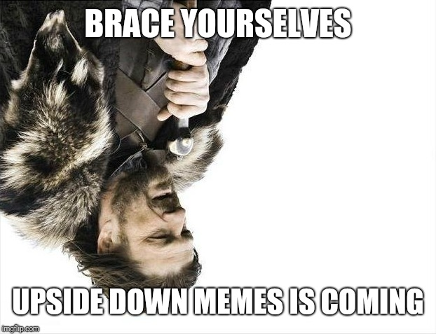 Brace Yourselves X is Coming | BRACE YOURSELVES UPSIDE DOWN MEMES IS COMING | image tagged in memes,brace yourselves x is coming | made w/ Imgflip meme maker