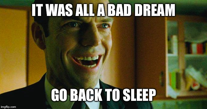 Go back to sleep | IT WAS ALL A BAD DREAM GO BACK TO SLEEP | image tagged in matrix,agent smith,virtual reality,sheeple | made w/ Imgflip meme maker