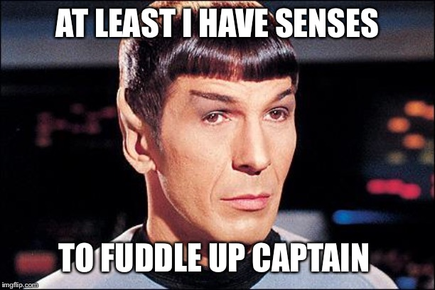 Condescending Spock | AT LEAST I HAVE SENSES TO FUDDLE UP CAPTAIN | image tagged in condescending spock | made w/ Imgflip meme maker