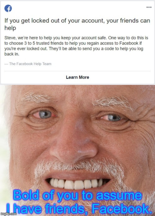 Facebook Security | Bold of you to assume I have friends, Facebook. | image tagged in hide the pain harold,facebook,facebook problems,friends what friends | made w/ Imgflip meme maker