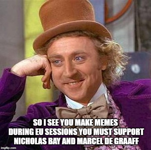 Creepy Condescending Wonka Meme | SO I SEE YOU MAKE MEMES DURING EU SESSIONS YOU MUST SUPPORT NICHOLAS BAY AND MARCEL DE GRAAFF | image tagged in memes,creepy condescending wonka | made w/ Imgflip meme maker