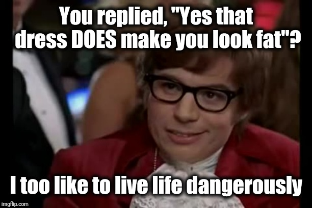 "Some men just don't get it! LOL | You replied, ""Yes that dress DOES make you look fat""? I too like to live life dangerously 