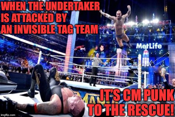 WWE Heroes #1 | WHEN THE UNDERTAKER IS ATTACKED BY AN INVISIBLE TAG TEAM IT'S CM PUNK TO THE RESCUE! | image tagged in wwe,undertaker,cm punk,wrestlemania,comics,memes | made w/ Imgflip meme maker