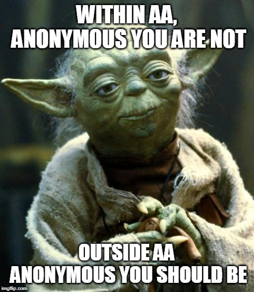 Star Wars Yoda Meme | WITHIN AA, ANONYMOUS YOU ARE NOT OUTSIDE AA ANONYMOUS YOU SHOULD BE | image tagged in memes,star wars yoda | made w/ Imgflip meme maker