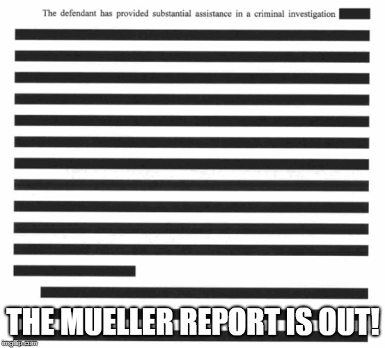 Mueller report is out! | THE MUELLER REPORT IS OUT! | image tagged in memes,politics,maga,impeach trump,drain the swamp | made w/ Imgflip meme maker
