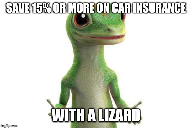 Geico  | SAVE 15% OR MORE ON CAR INSURANCE WITH A LIZARD | image tagged in geico | made w/ Imgflip meme maker