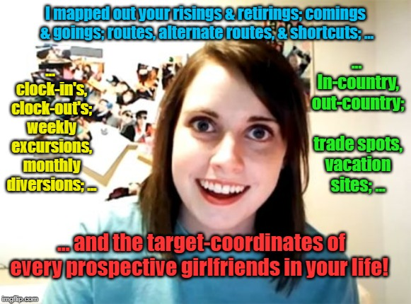 You are Mine and Mine Alone. :) | I mapped out your risings & retirings; comings & goings; routes, alternate routes, & shortcuts; ... ... clock-in's, clock-out's; weekly excu | image tagged in memes,overly attached girlfriend,crazy,girlfriend,creepy,deadly | made w/ Imgflip meme maker