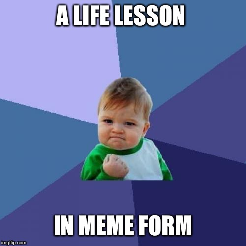 Success Kid Meme | A LIFE LESSON IN MEME FORM | image tagged in memes,success kid | made w/ Imgflip meme maker