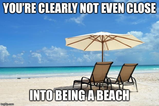 Beach | YOU'RE CLEARLY NOT EVEN CLOSE INTO BEING A BEACH | image tagged in beach | made w/ Imgflip meme maker