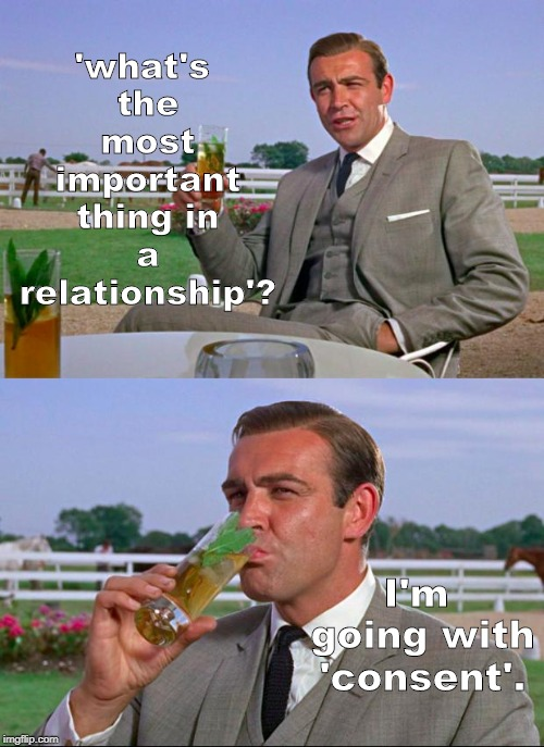 many things are important in any relationship. | 'what's the most important thing in a relationship'? I'm going with 'consent'. | image tagged in sean connery  kermit,puns,real life,political humor,men vs women,memes | made w/ Imgflip meme maker