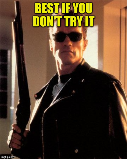 Terminator 2 | BEST IF YOU DON'T TRY IT | image tagged in terminator 2 | made w/ Imgflip meme maker