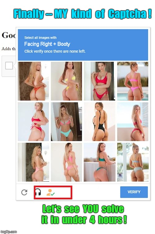 Finally -- MY kind of Captcha ! | Finally -- MY  kind  of  Captcha ! Let's  see  YOU  solve  it  in  under  4  hours ! | image tagged in funny memes,booty,rick75230 | made w/ Imgflip meme maker