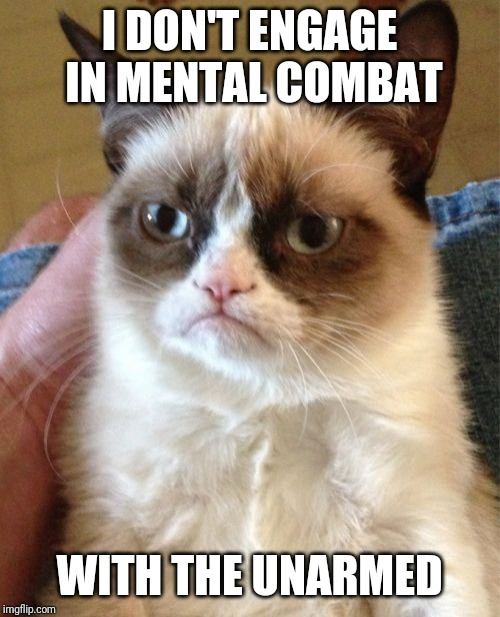 Grumpy Cat | I DON'T ENGAGE IN MENTAL COMBAT WITH THE UNARMED | image tagged in memes,grumpy cat | made w/ Imgflip meme maker