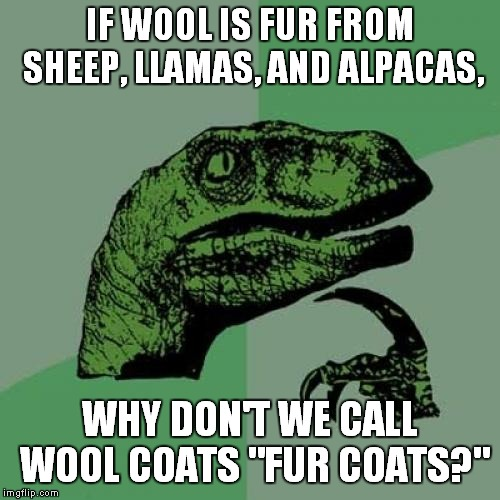 "Wool is Fur | IF WOOL IS FUR FROM SHEEP, LLAMAS, AND ALPACAS, WHY DON'T WE CALL WOOL COATS ""FUR COATS?"" 