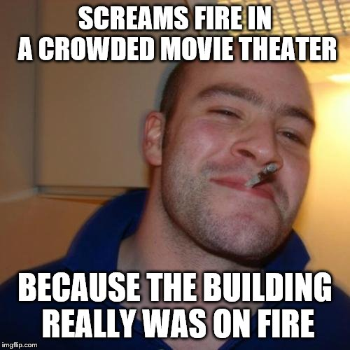 Good Guy Greg | SCREAMS FIRE IN A CROWDED MOVIE THEATER BECAUSE THE BUILDING REALLY WAS ON FIRE | image tagged in memes,good guy greg | made w/ Imgflip meme maker