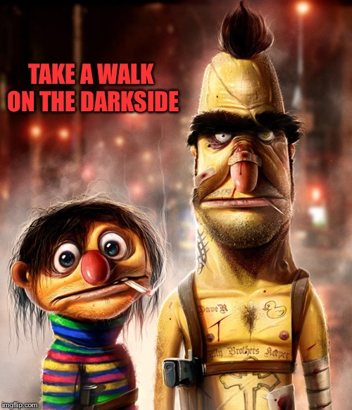 Hard core Bert & Ernie | TAKE A WALK ON THE DARKSIDE | image tagged in hard core bert  ernie | made w/ Imgflip meme maker