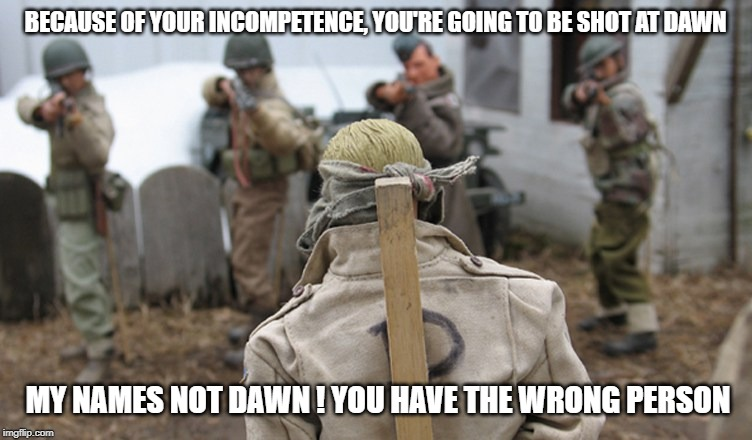 firing squad | BECAUSE OF YOUR INCOMPETENCE, YOU'RE GOING TO BE SHOT AT DAWN MY NAMES NOT DAWN ! YOU HAVE THE WRONG PERSON | image tagged in firing squad | made w/ Imgflip meme maker