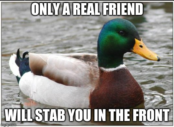 I'll take that advice | ONLY A REAL FRIEND WILL STAB YOU IN THE FRONT | image tagged in memes,actual advice mallard,funny,friends,betrayal,memelord344 | made w/ Imgflip meme maker