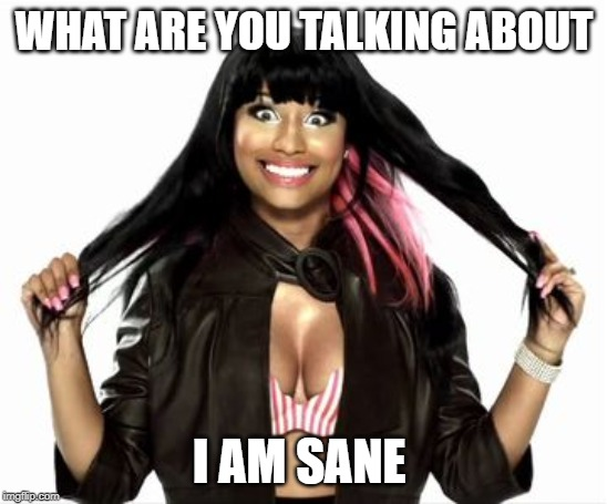 Happy Minaj 2 |  WHAT ARE YOU TALKING ABOUT; I AM SANE | image tagged in memes,happy minaj 2 | made w/ Imgflip meme maker