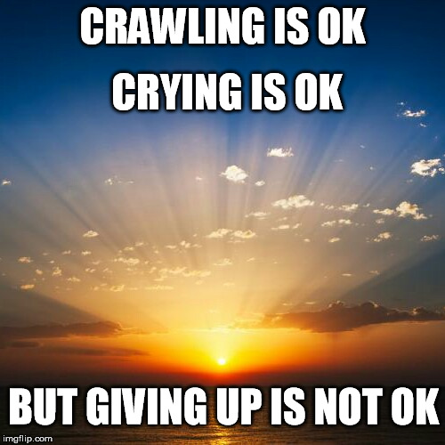 Sunrise | CRAWLING IS OK CRYING IS OK BUT GIVING UP IS NOT OK | image tagged in sunrise | made w/ Imgflip meme maker
