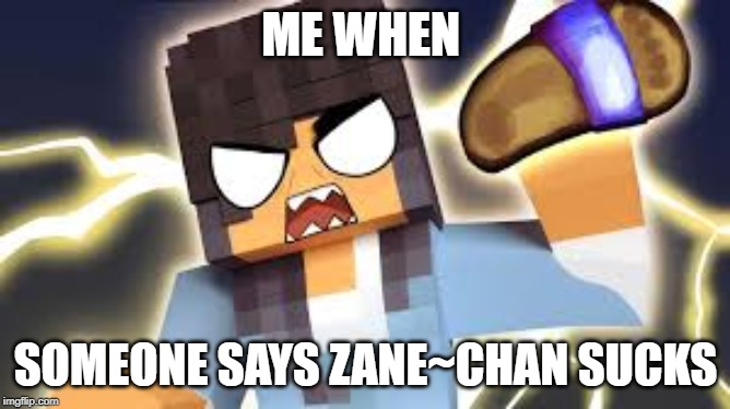 ME WHEN; SOMEONE SAYS ZANE~CHAN SUCKS | image tagged in aphmau,zane chan | made w/ Imgflip meme maker
