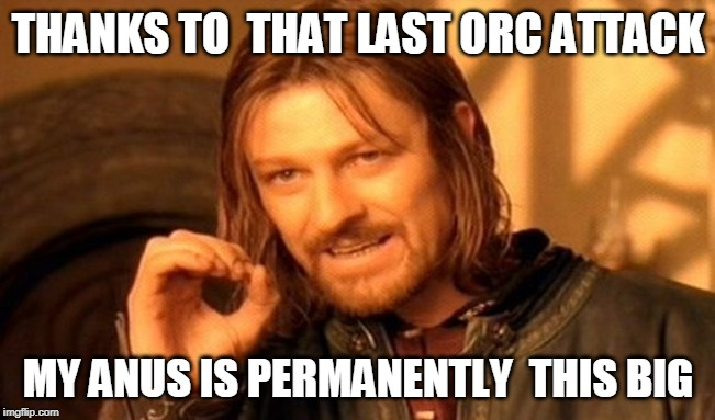 One Does Not Simply Meme |  THANKS TO  THAT LAST ORC ATTACK; MY ANUS IS PERMANENTLY  THIS BIG | image tagged in memes,one does not simply | made w/ Imgflip meme maker