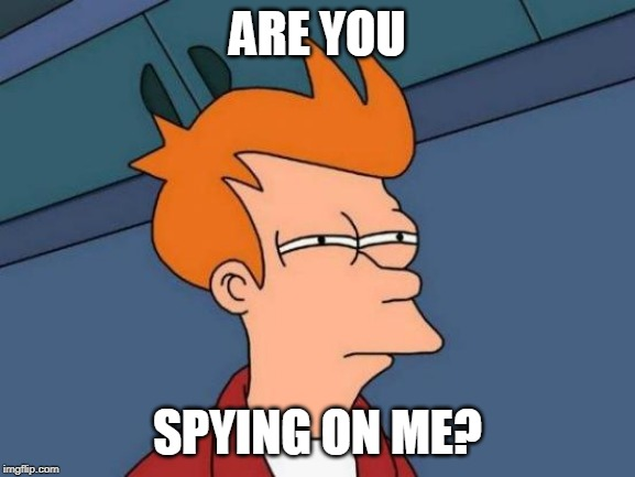 Futurama Fry Meme | ARE YOU SPYING ON ME? | image tagged in memes,futurama fry | made w/ Imgflip meme maker