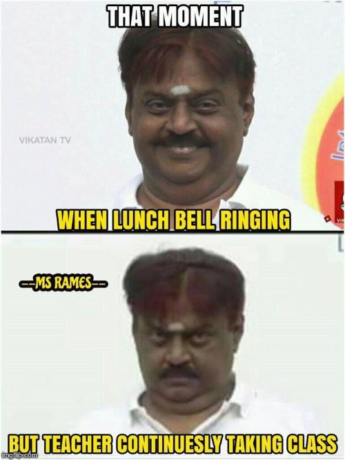 LUNCH BELL | image tagged in lunch,bell,vijaykanth | made w/ Imgflip meme maker