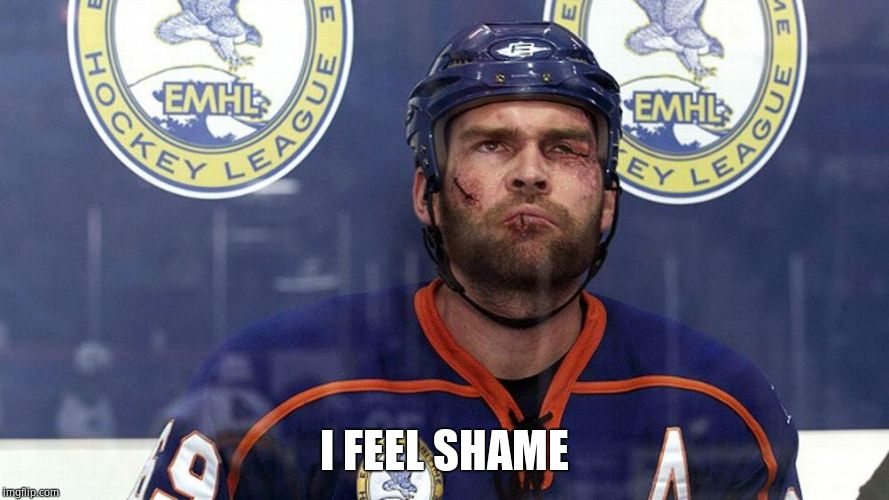 Hockey goon | I FEEL SHAME | image tagged in hockey goon | made w/ Imgflip meme maker