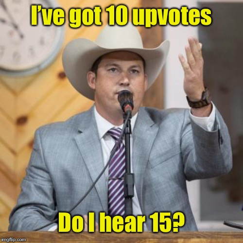 Upvote Bidding wars: the latest post Tidepod challenge | I've got 10 upvotes Do I hear 15? | image tagged in auctioneer,bidding,upvotes,tidepod challenge,funny memes,drsarcasm | made w/ Imgflip meme maker