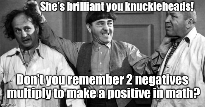 Three Stooges | She's brilliant you knuckleheads! Don't you remember 2 negatives multiply to make a positive in math? | image tagged in three stooges | made w/ Imgflip meme maker