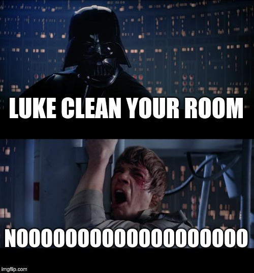Star Wars No Meme | LUKE CLEAN YOUR ROOM NOOOOOOOOOOOOOOOOOOO | image tagged in memes,star wars no | made w/ Imgflip meme maker