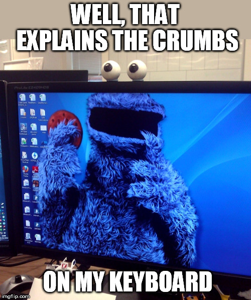 Deleat cookies? | WELL, THAT EXPLAINS THE CRUMBS ON MY KEYBOARD | image tagged in cookie monster,cookies,crumbs,keyboard | made w/ Imgflip meme maker