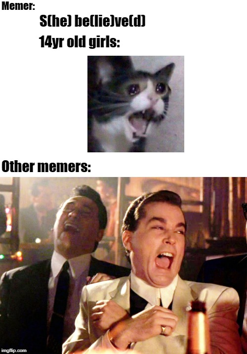 Good Fellas Hilarious | Memer: S(he) be(lie)ve(d) 14yr old girls: Other memers: | image tagged in memes,good fellas hilarious | made w/ Imgflip meme maker