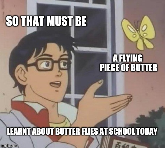 Is This A Pigeon Meme | SO THAT MUST BE A FLYING PIECE OF BUTTER LEARNT ABOUT BUTTER FLIES AT SCHOOL TODAY | image tagged in memes,is this a pigeon | made w/ Imgflip meme maker