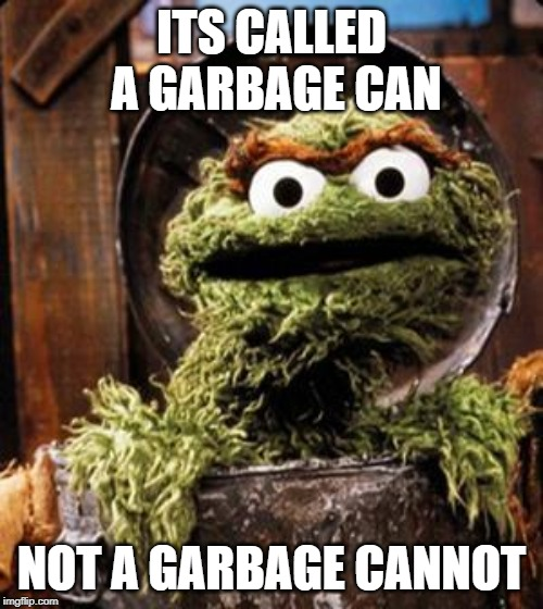 Oscar the Grouch | ITS CALLED A GARBAGE CAN NOT A GARBAGE CANNOT | image tagged in oscar the grouch | made w/ Imgflip meme maker