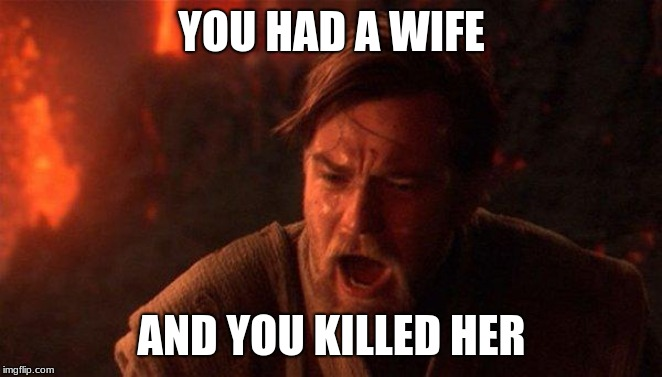 You Were The Chosen One (Star Wars) | YOU HAD A WIFE AND YOU KILLED HER | image tagged in memes,you were the chosen one star wars | made w/ Imgflip meme maker