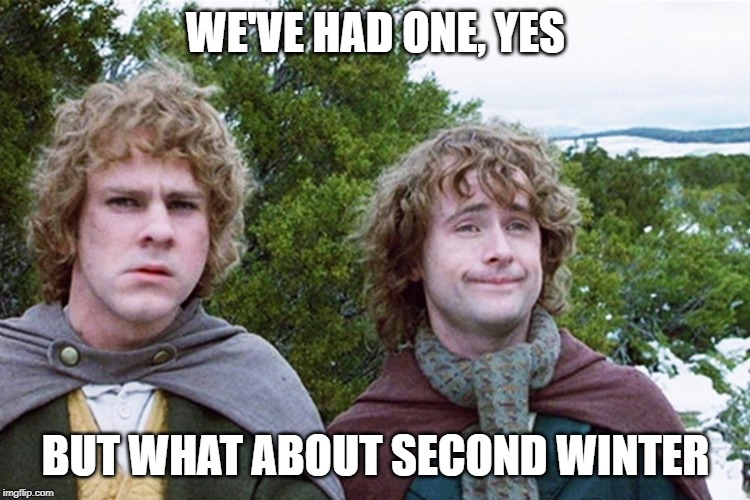 Living in Canada be like | WE'VE HAD ONE, YES BUT WHAT ABOUT SECOND WINTER | image tagged in hobbits | made w/ Imgflip meme maker